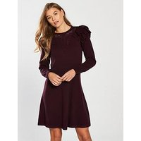 V by Very Fit & Flare Frill Mesh Yoke Knitted Dress - Aubergine, Aubergine, Size 24, Women
