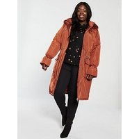V by Very Curve Premium Patch Pocket Parka - Rust, Rust, Size 22, Women