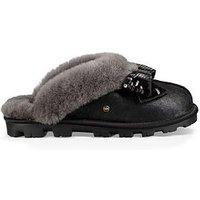 UGG Ugg Coquette Sequin Bow Closed Toe Mule Slipper, Black, Size 6, Women
