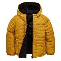 Money Boys Gold Label Reverse Padded Jacket, Black/Gold, Size Age: 15-16 Years