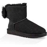 UGG Fluff Bow Mini Boot - Black, Black, Size 6, Women
