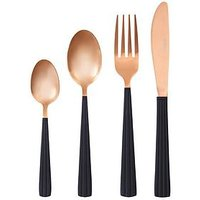 Product photograph showing Ideal Home Rose Gold With Black Handle 16-piece Cutlery Set