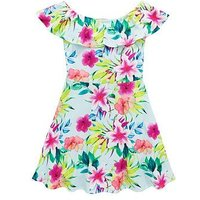 V by Very Girls Mint Floral Bardot Dress, Mint, Size 13 Years, Women