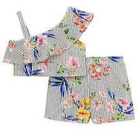 V by Very Girls Stripe & Floral Co-ord Outfit, Multi, Size Age: 9 Years, Women
