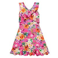 V by Very Girls Frill Pink Floral Dress, Pink, Size 6 Years, Women
