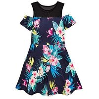 V by Very Girls Mesh Cold Shoulder Floral Dress, Navy, Size 10 Years, Women