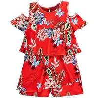 V by Very Girls Cold Shoulder Floral Playsuit, Red, Size 15 Years, Women