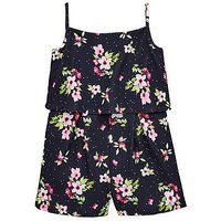 V by Very Floral Spot Navy Playsuit, Navy, Size 16 Years, Women