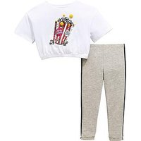 Mini V by Very Girls Popcorn Pom Pom Sequin Top & Legging Outfit, Grey, Size Age: 3-6 Months, Women