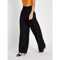 RI Petite Wide Leg Trousers - Black, Black, Size 6, Women