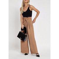 RI Petite Ri Petite Wide Leg Trousers - Brown, Camel, Size 6, Women