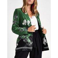 RI Petite Floral Print Blazer - Green, Multi, Size 10, Women