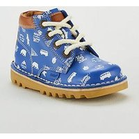 Kickers X Joules Boys Kick Hi Print Boot, Blue, Size 1 Older