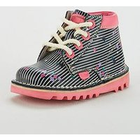 Kickers Girls Kick Hi Print Boot - Grey, Navy/Pink, Size 2 Older