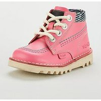 Kickers Girls Kick Hi Boot - Pink, Pink, Size 11 Younger