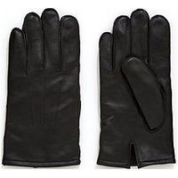 V by Very Black Leather Smart Gloves, Black, Size S/M, Men