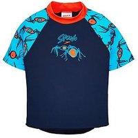 Speedo Boys Essential Suntop, Navy/Orange, Size 9-12 Months