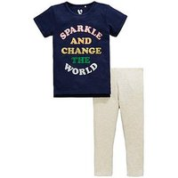 Mini V by Very Girls 2 Piece Change The World Top and Leggings Outfit - Multi, Multi, Size Age: 6-9 Months, Women