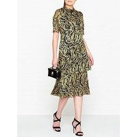 Whistles Ivanna Reed DevorÉ Frill Dress - Gold/Black