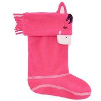 Joules Girls Horse Welly Socks, Pink, Size 11-13, Women