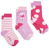 Joules Girls 3 Pack Mouse Bamboo Socks - Pink, Pink, Size 9-12, Women