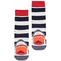 Boys, Joules boys Stripe Shark Socks, Navy, Size 9-12