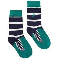 Joules Boys Stripe Dinosaur socks, Navy, Size 13-3