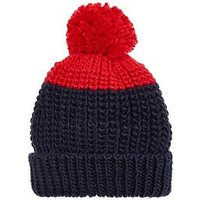 Joules Boys Knitted Bobble Hat - Navy/Red, Navy, Size 8-12 Years