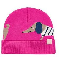 Joules Girls Dog Knitted Hat, Pink, Size 4-7 Years