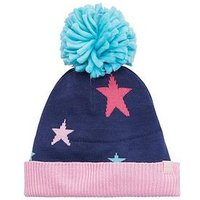 Joules Girls Star Knitted Hat - Navy, Navy, Size 8-12 Years
