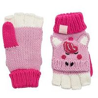 Joules Girls Horse Glittens - Pink, Pink, Size 8-12 Years
