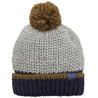 Joules Boys Knitted Bobble hat, Grey Marl, Size 8-12 Years