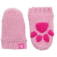 Joules Baby Girl Paw Mittens - Pink, Pink, Size 18-24 Months