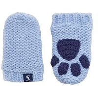 Joules Baby Boy Paw Mittens, Blue, Size 12-24 Months