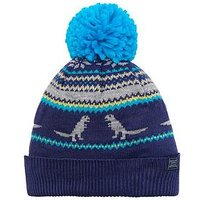 Joules boys Dino Fairisle Knitted Hat, Navy, Size 4-7 Years