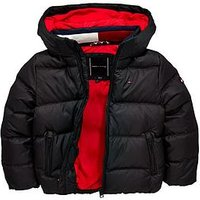Tommy Hilfiger Boys Padded Down Jacket, Black, Size Age: 6 Years