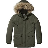 Tommy Hilfiger Boys Faux Fur Hooded Parka, Khaki, Size Age: 12 Years