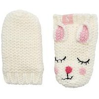 Joules Baby Girls Bunny Mittens, White, Size 6-12 Months