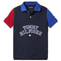 Tommy Hilfiger Boys Short Sleeve Colourblock Polo, Navy, Size 6 Years