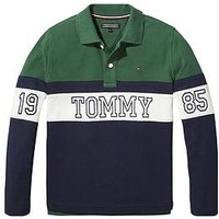 Tommy Hilfiger Boys Long Sleeve Panel Polo - Green, Green, Size 6 Years