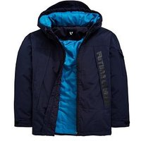 V by Very Boys Future Legend Quilted Lined Hooded Coat, Navy, Size Age: 7 Years