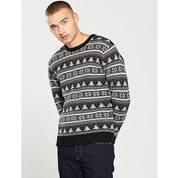 V by Very Christmas Fairisle Jumper, Charcoal, Size Xl, Men