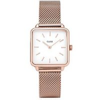 CLUSE Cluse La Garconne White and Rose Gold Square Dial Rose Gold Mesh Stainless Steel Strap Ladies Watch, One Colour, Women