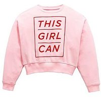 V by Very Girls 'This Girl Can' Slogan Sweatshirt, Pink, Size Age: 6 Years, Women