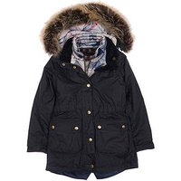 Barbour Girls Dartford Wax Hooded Coat, Navy, Size 8-9 Years, Women