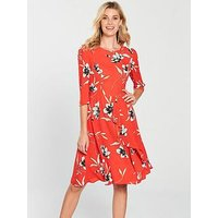 V by Very Printed Midi Dress - Floral, Floral, Size 18, Women