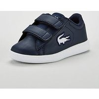 Lacoste Carnaby Infant Strap Plimsoll, Navy/White, Size 9 Younger