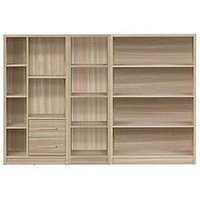 Product photograph showing Metro 3 Piece Storage Bookcase Package - Oak Effect