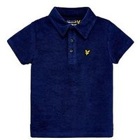 Lyle & Scott Boys Towelling Short Sleeve Polo, Blue, Size 10-11 Years