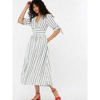Monsoon Farley Stripe Linen Dress - White